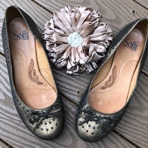 Sofft Gold leather studded bowtie flats